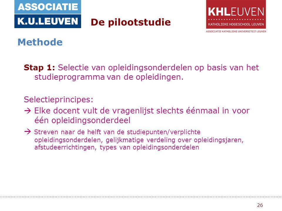 26 De pilootstudie Methode Stap 1: Selectie van opleidingsonderdelen op basis van het studieprogramma van de opleidingen.