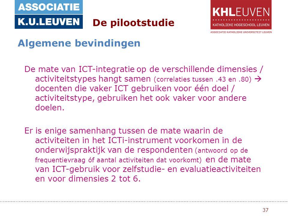 37 De pilootstudie Algemene bevindingen De mate van ICT-integratie op de verschillende dimensies / activiteitstypes hangt samen (correlaties tussen.43 en.80)  docenten die vaker ICT gebruiken voor één doel / activiteitstype, gebruiken het ook vaker voor andere doelen.