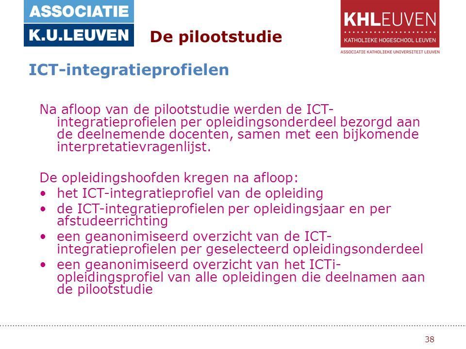 38 De pilootstudie ICT-integratieprofielen Na afloop van de pilootstudie werden de ICT- integratieprofielen per opleidingsonderdeel bezorgd aan de deelnemende docenten, samen met een bijkomende interpretatievragenlijst.