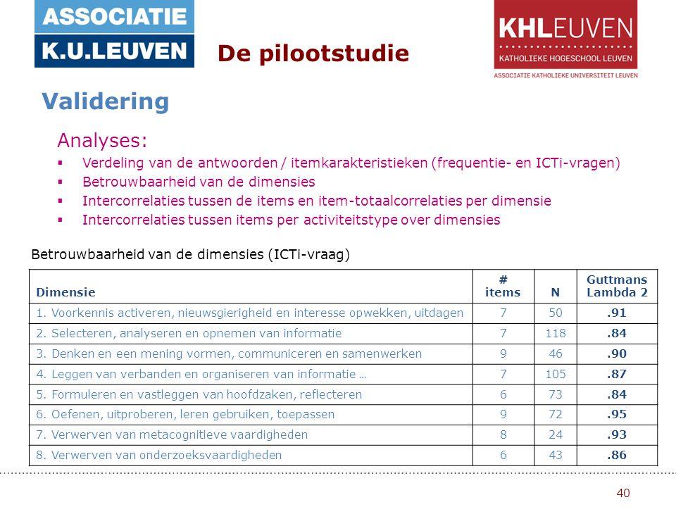 40 De pilootstudie Validering Analyses:  Verdeling van de antwoorden / itemkarakteristieken (frequentie- en ICTi-vragen)  Betrouwbaarheid van de dimensies  Intercorrelaties tussen de items en item-totaalcorrelaties per dimensie  Intercorrelaties tussen items per activiteitstype over dimensies Betrouwbaarheid van de dimensies (ICTi-vraag) Dimensie # itemsN Guttmans Lambda 2 1.