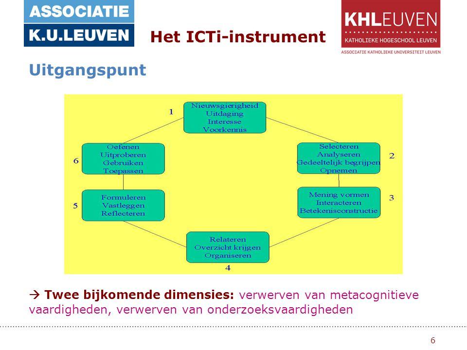 6  Twee bijkomende dimensies: verwerven van metacognitieve vaardigheden, verwerven van onderzoeksvaardigheden Het ICTi-instrument Uitgangspunt