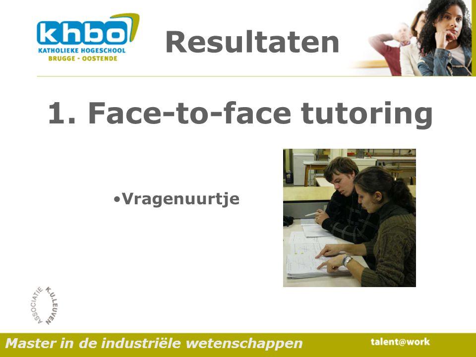 Resultaten Vragenuurtje 1. Face-to-face tutoring Master in de industriële wetenschappen