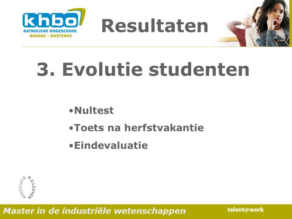Resultaten Nultest Toets na herfstvakantie Eindevaluatie 3.