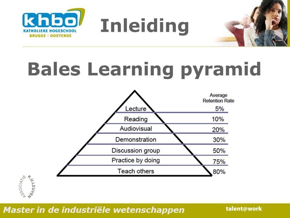 Inleiding Bales Learning pyramid Master in de industriële wetenschappen
