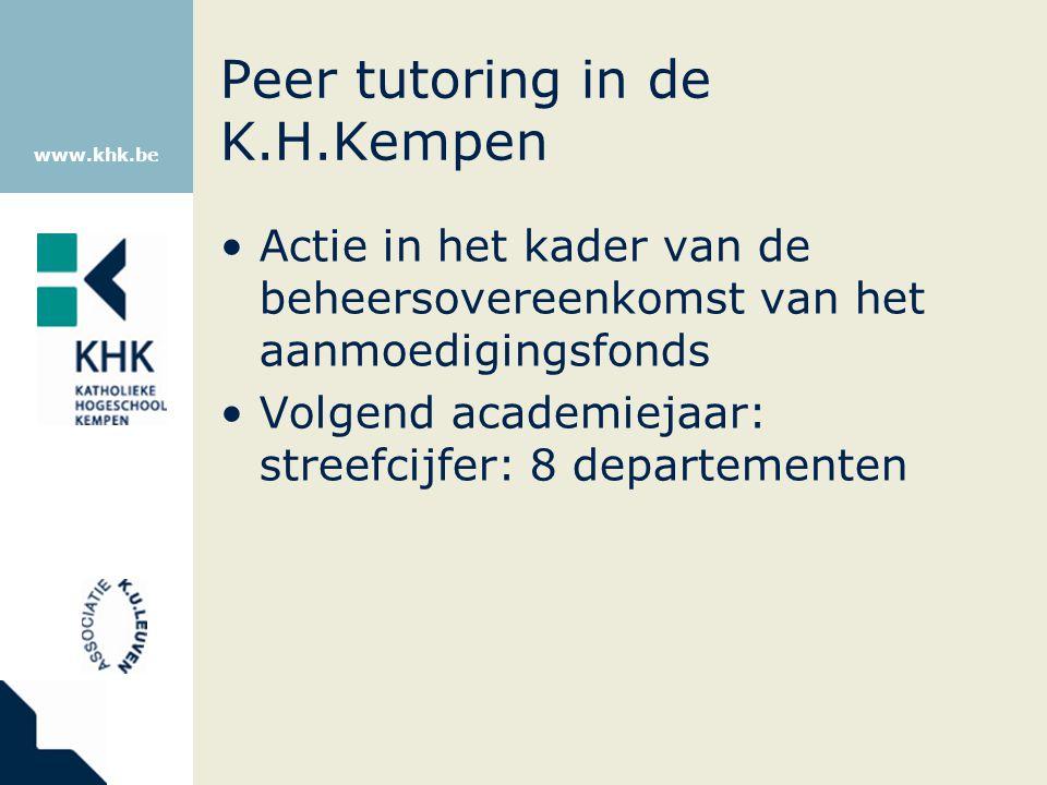 www.khk.be Peer tutoring in de K.H.Kempen Actie in het kader van de beheersovereenkomst van het aanmoedigingsfonds Volgend academiejaar: streefcijfer: