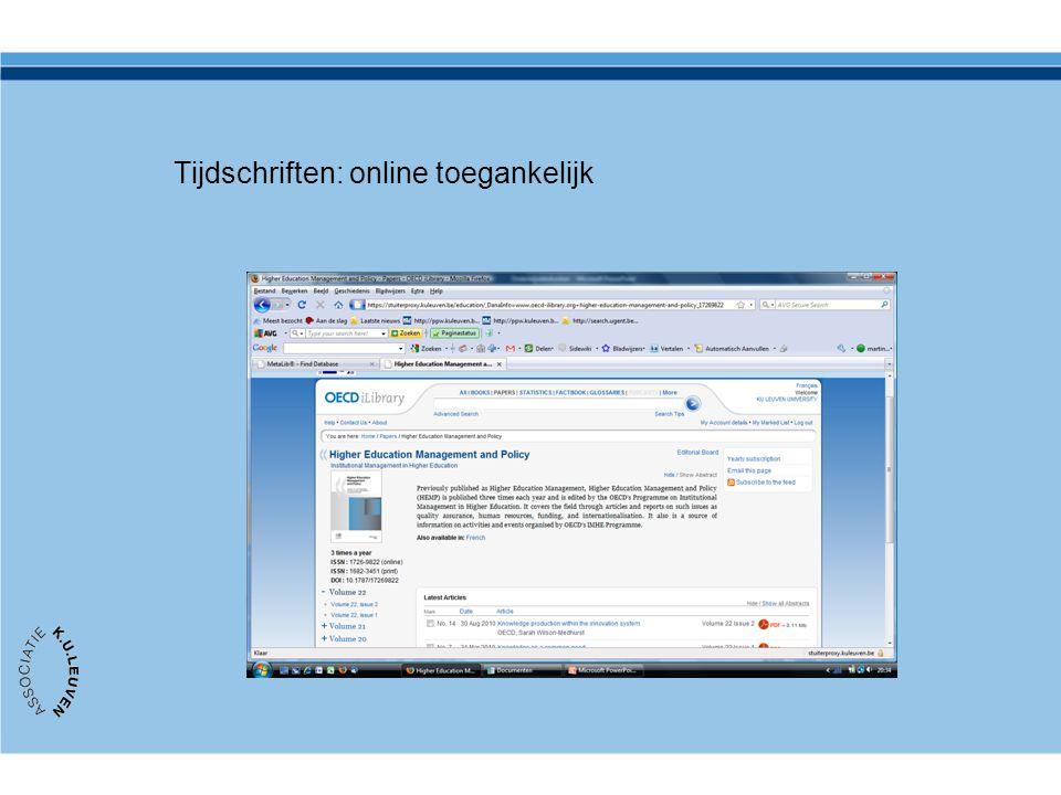 Tijdschriften: online toegankelijk