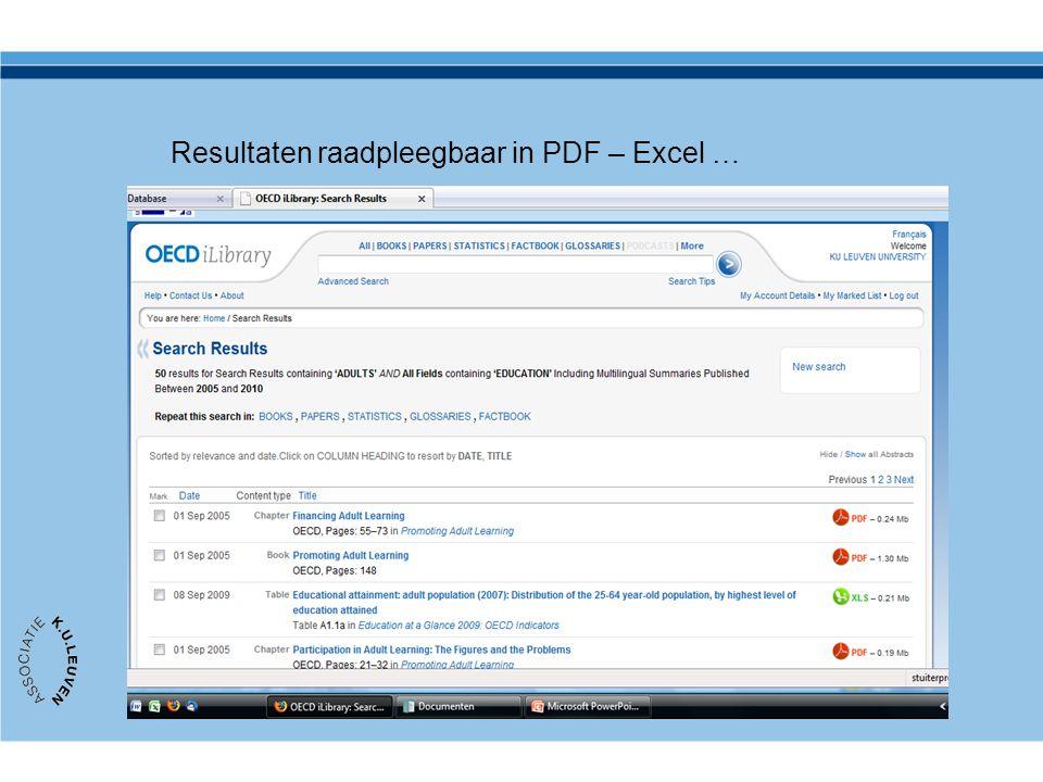 Resultaten raadpleegbaar in PDF – Excel …