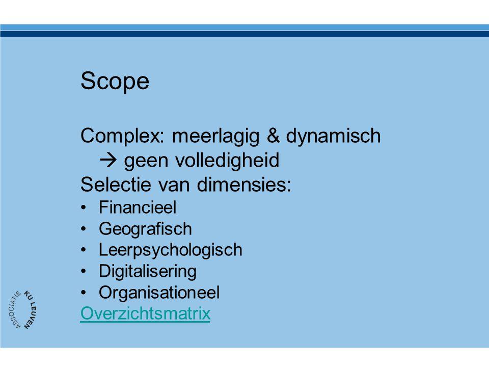 Scope Complex: meerlagig & dynamisch  geen volledigheid Selectie van dimensies: Financieel Geografisch Leerpsychologisch Digitalisering Organisationeel Overzichtsmatrix