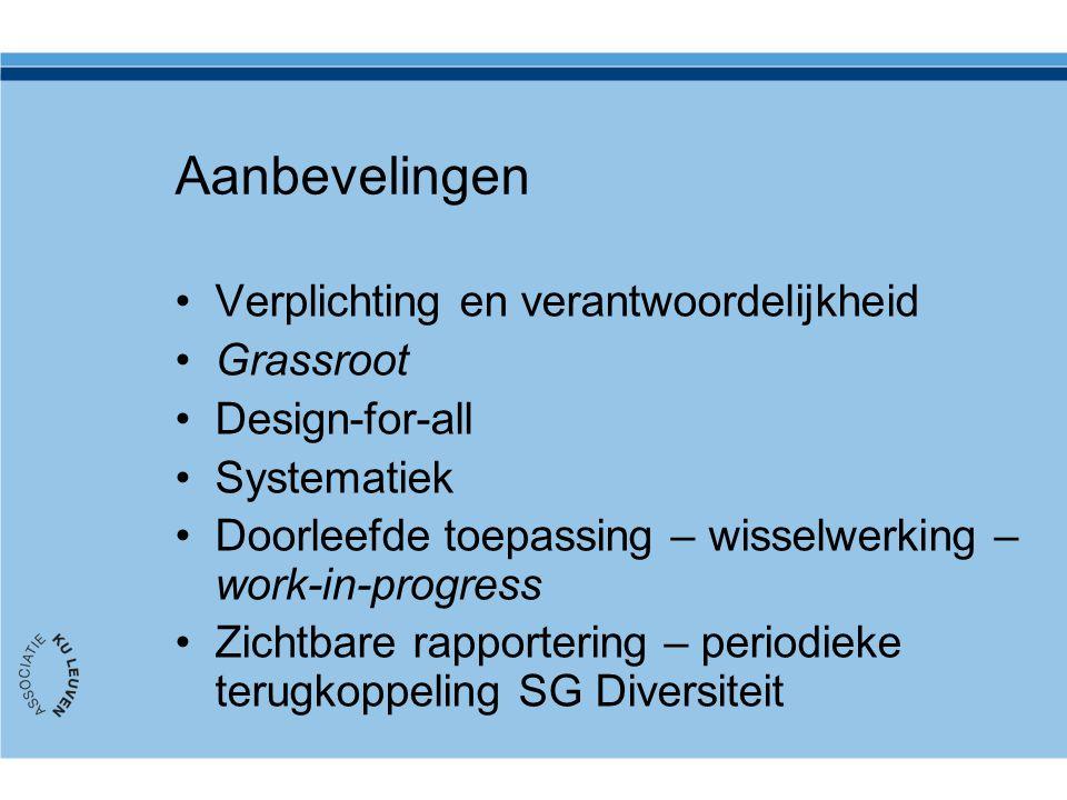 Aanbevelingen Verplichting en verantwoordelijkheid Grassroot Design-for-all Systematiek Doorleefde toepassing – wisselwerking – work-in-progress Zichtbare rapportering – periodieke terugkoppeling SG Diversiteit