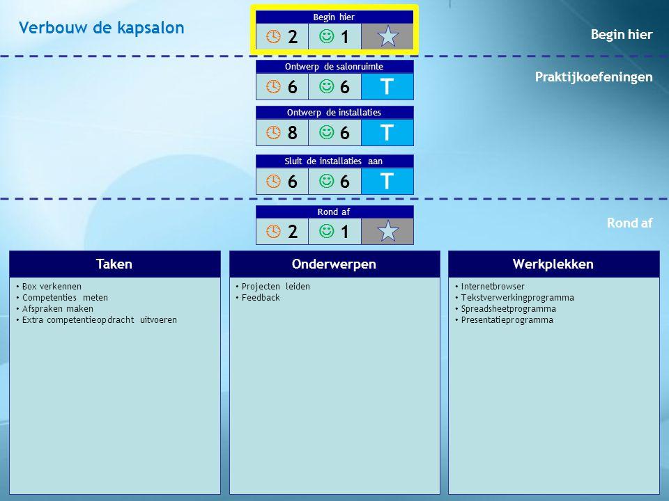 Box verkennen Competenties meten Afspraken maken Extra competentieopdracht uitvoeren Projecten leiden Feedback Internetbrowser Tekstverwerkingprogramm