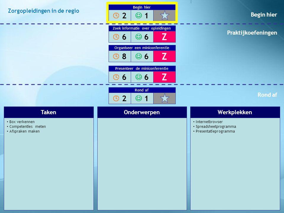 Box verkennen Competenties meten Afspraken maken Internetbrowser Spreadsheetprogramma Presentatieprogramma TakenOnderwerpenWerkplekken  2 2 1 Begin