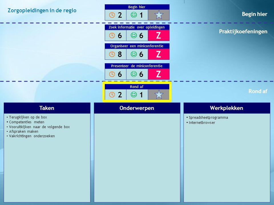 Terugkijken op de box Competenties meten Vooruitkijken naar de volgende box Afspraken maken Vakrichtingen onderzoeken Spreadsheetprogramma Internetbro