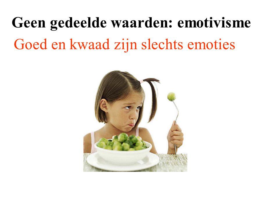 Geen gedeelde waarden: emotivisme Goed en kwaad zijn slechts emoties