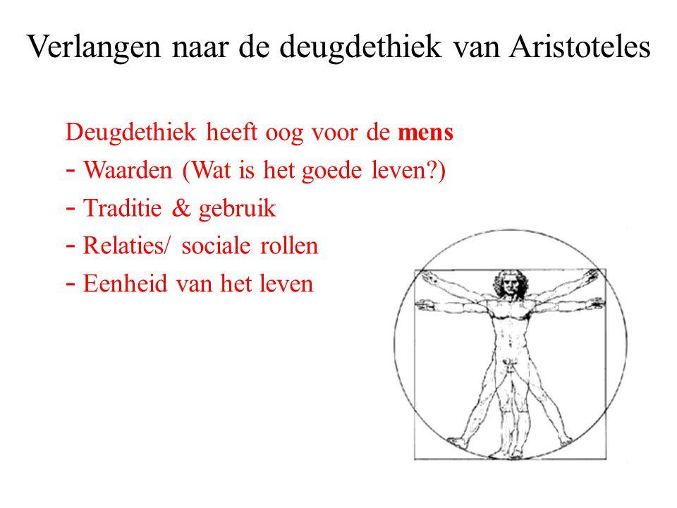 Verlangen naar de deugdethiek van Aristoteles Deugdethiek heeft oog voor de mens - Waarden (Wat is het goede leven?) - Traditie & gebruik - Relaties/