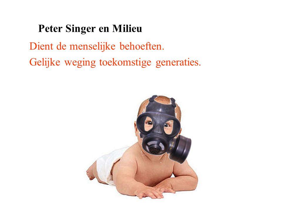 Peter Singer en Milieu Dient de menselijke behoeften. Gelijke weging toekomstige generaties.