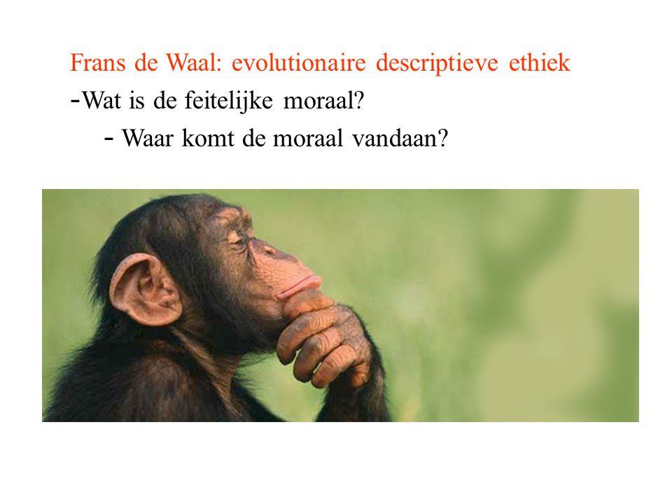 Frans de Waal: evolutionaire descriptieve ethiek - Wat is de feitelijke moraal? - Waar komt de moraal vandaan?