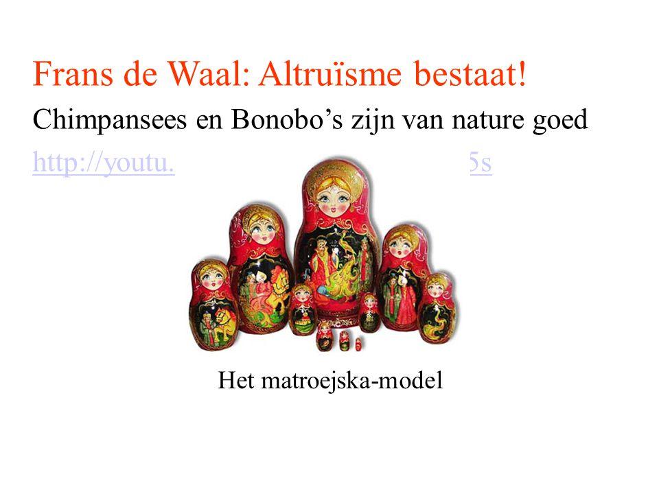 Frans de Waal: Altruïsme bestaat! Chimpansees en Bonobo's zijn van nature goed http://youtu.be/GcJxRqTs5nk?t=11m5s Het matroejska-model