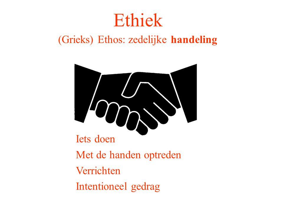 Ethiek (Grieks) Ethos: zedelijke handeling Fatsoenlijk Met goede manieren Zoals het hoort