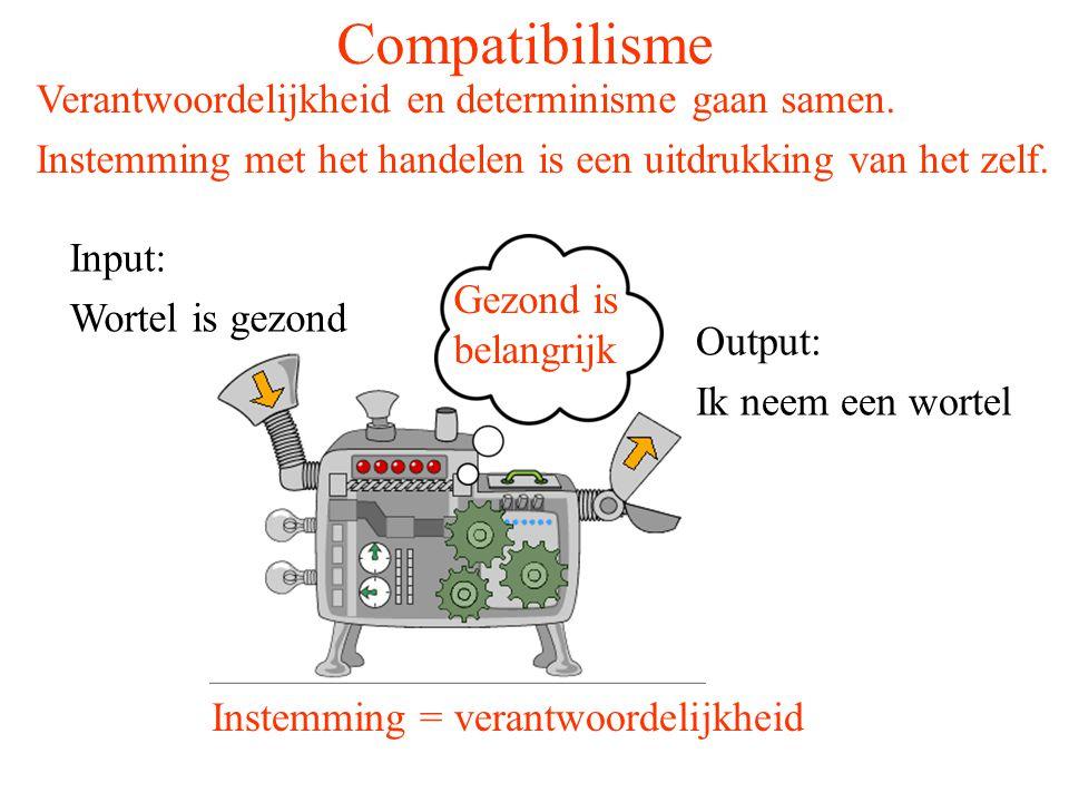 Compatibilisme Input: Wortel is gezond Output: Ik neem een wortel Instemming = verantwoordelijkheid Verantwoordelijkheid en determinisme gaan samen. I
