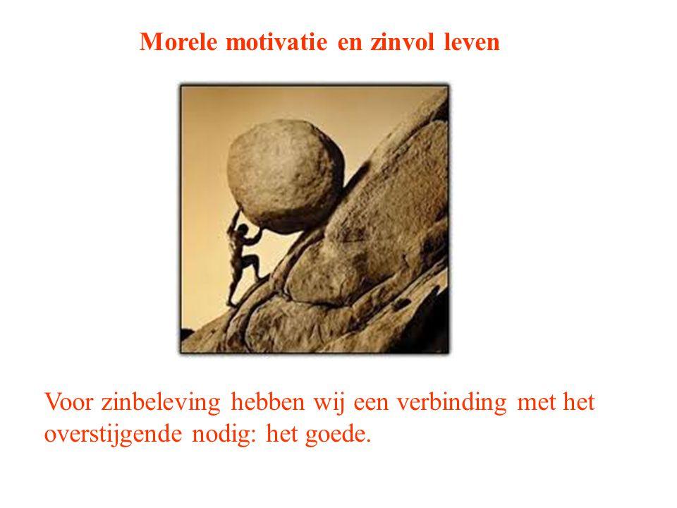 Morele motivatie en zinvol leven Voor zinbeleving hebben wij een verbinding met het overstijgende nodig: het goede.
