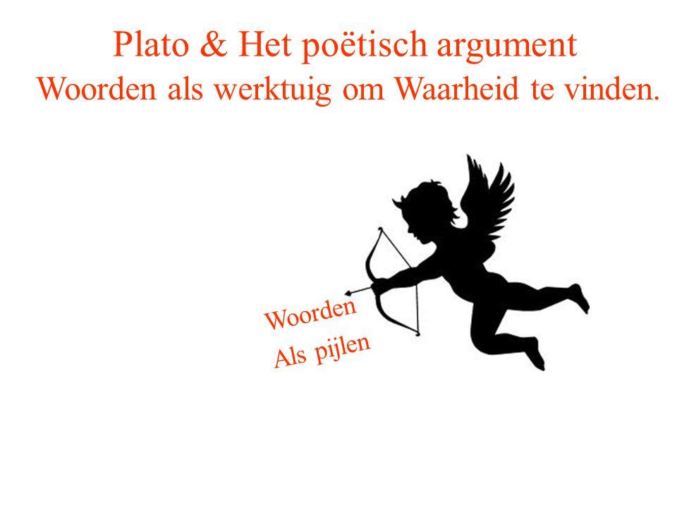 Plato & Het poëtisch argument Woorden als werktuig om Waarheid te vinden. Woorden Als pijlen