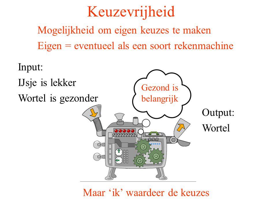 Keuzevrijheid Input: IJsje is lekker Wortel is gezonder Output: Wortel Maar 'ik' waardeer de keuzes Mogelijkheid om eigen keuzes te maken Eigen = even