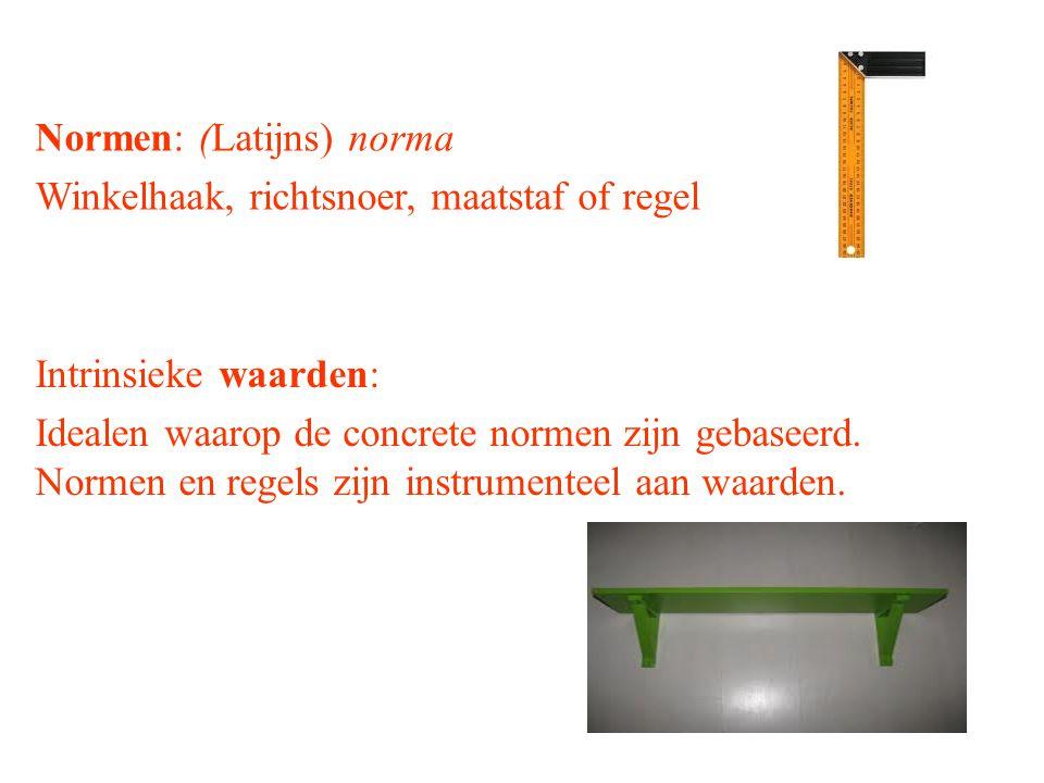 Normen: (Latijns) norma Winkelhaak, richtsnoer, maatstaf of regel Intrinsieke waarden: Idealen waarop de concrete normen zijn gebaseerd.