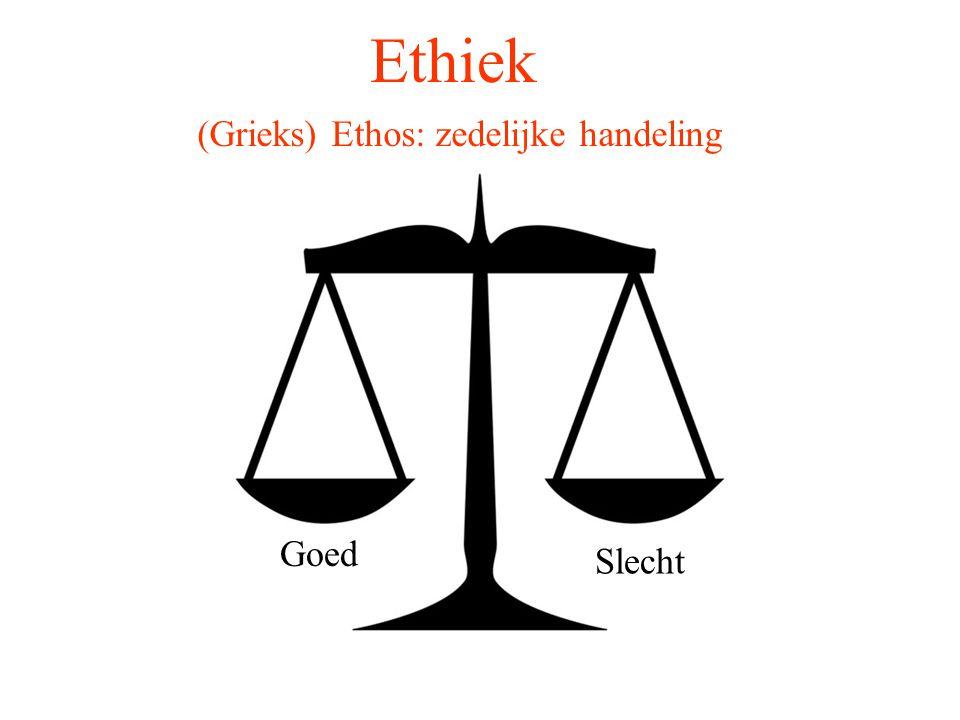 Ethiek (Grieks) Ethos: zedelijke handeling Iets doen Met de handen optreden Verrichten Intentioneel gedrag