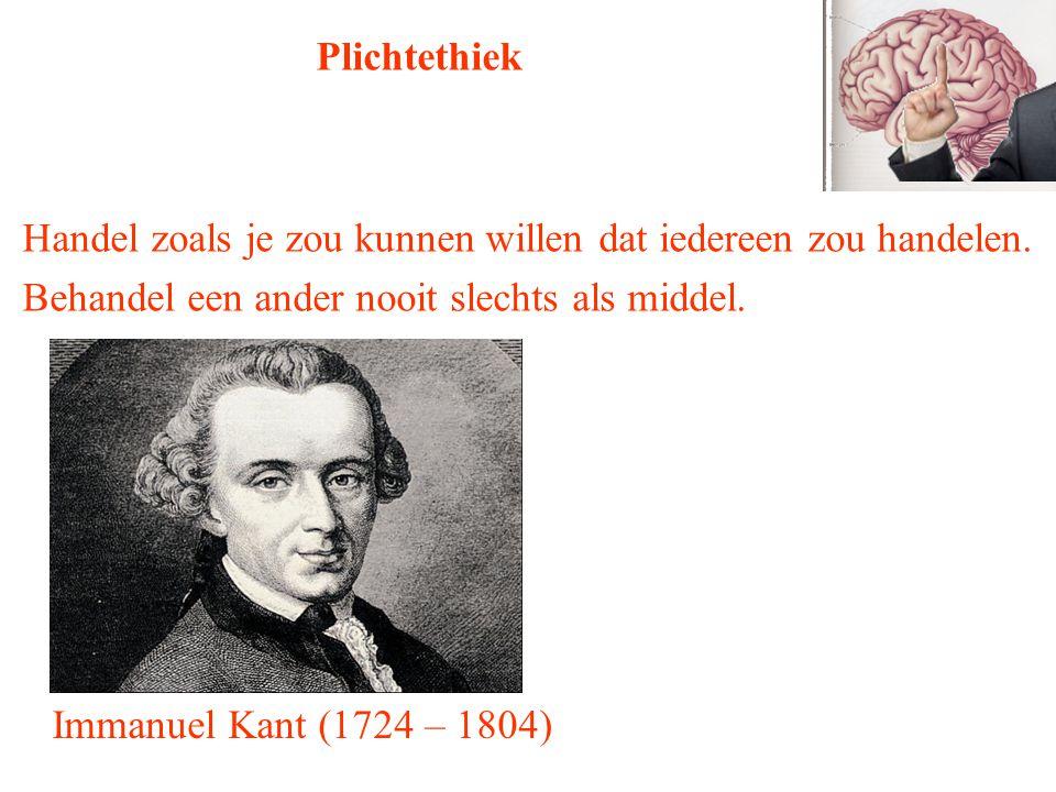 Immanuel Kant (1724 – 1804) Plichtethiek Handel zoals je zou kunnen willen dat iedereen zou handelen. Behandel een ander nooit slechts als middel.