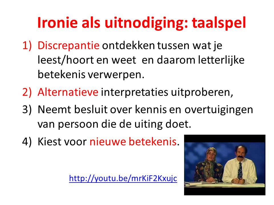 1)Discrepantie ontdekken tussen wat je leest/hoort en weet en daarom letterlijke betekenis verwerpen.