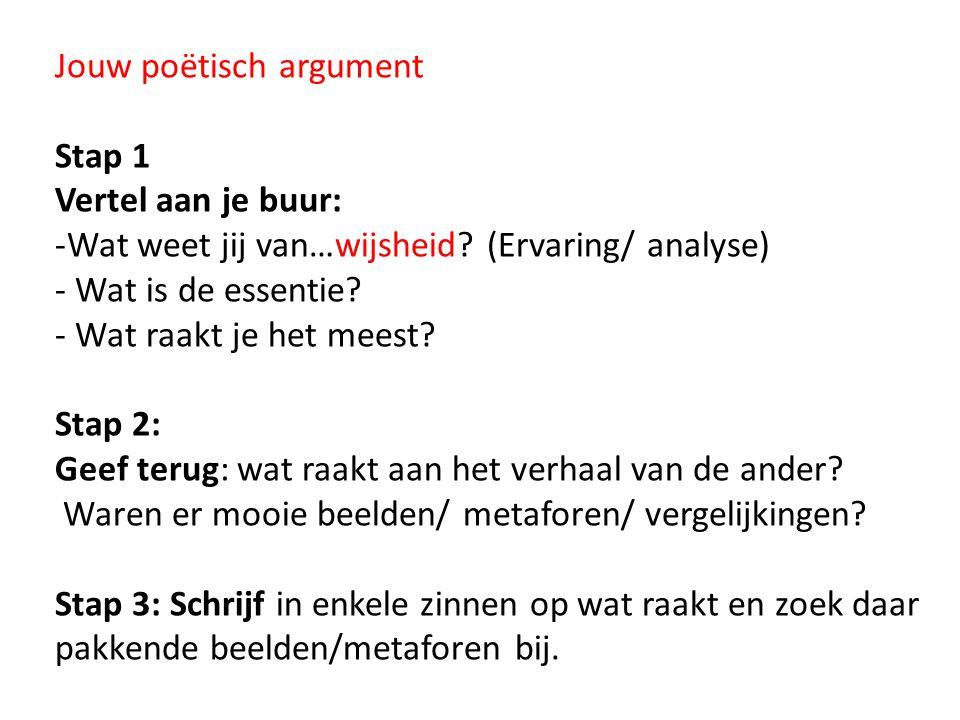 Jouw poëtisch argument Stap 1 Vertel aan je buur: -Wat weet jij van…wijsheid? (Ervaring/ analyse) - Wat is de essentie? - Wat raakt je het meest? Stap
