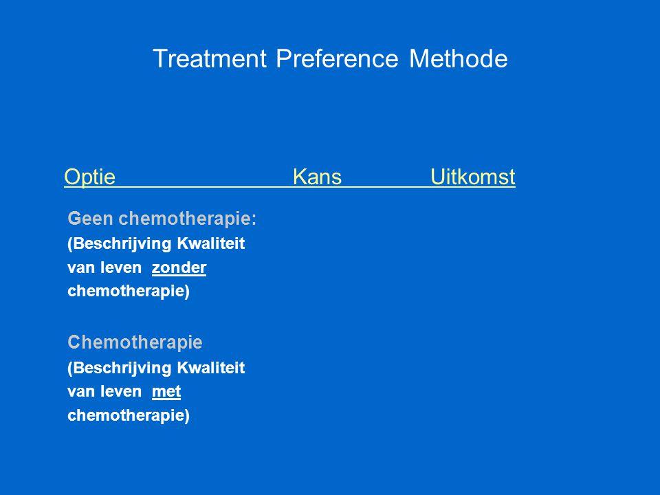 Treatment Preference Methode Optie KansUitkomst Geen chemotherapie: (Beschrijving Kwaliteit van leven zonder chemotherapie) Chemotherapie (Beschrijvin