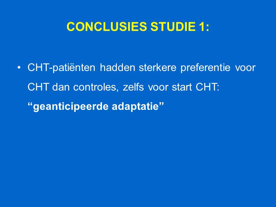 """CONCLUSIES STUDIE 1: CHT-patiënten hadden sterkere preferentie voor CHT dan controles, zelfs voor start CHT: """"geanticipeerde adaptatie"""""""
