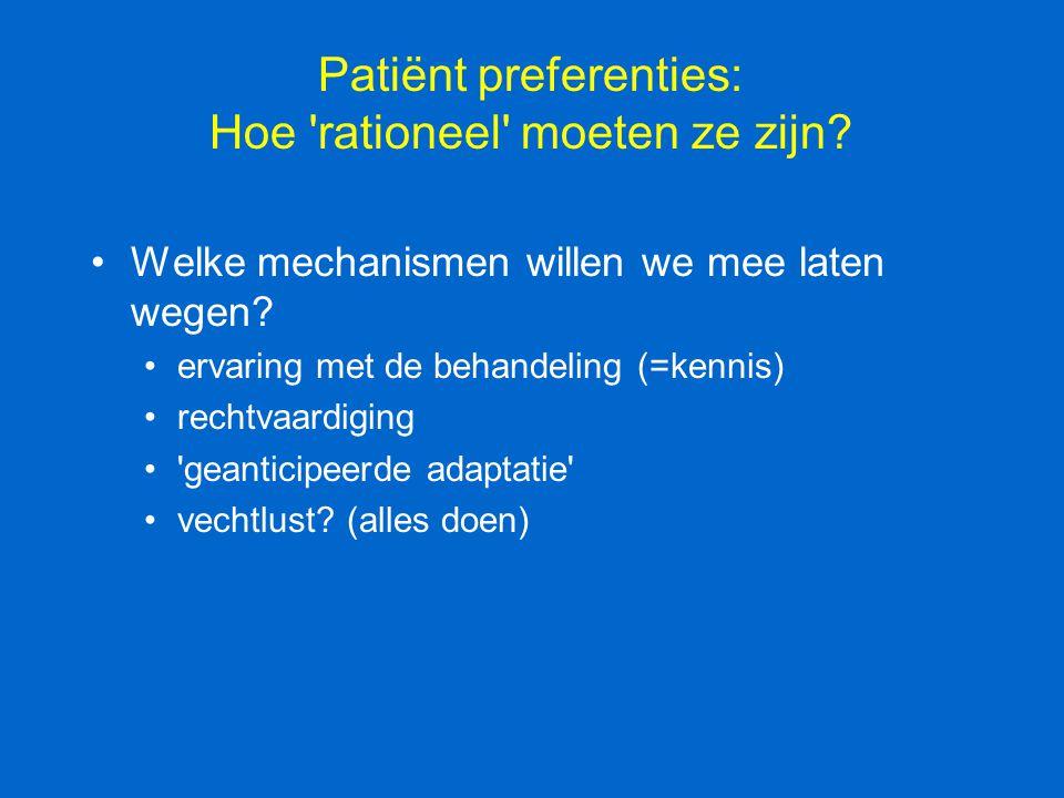 Patiënt preferenties: Hoe 'rationeel' moeten ze zijn? Welke mechanismen willen we mee laten wegen? ervaring met de behandeling (=kennis) rechtvaardigi
