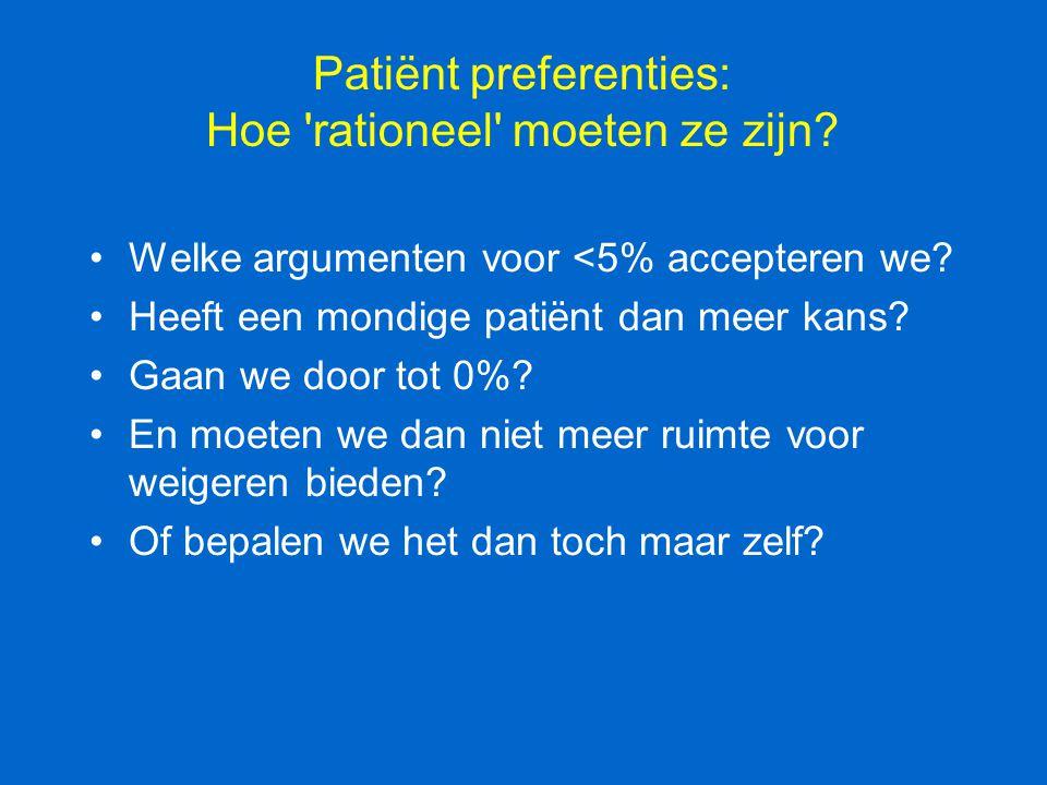 Patiënt preferenties: Hoe 'rationeel' moeten ze zijn? Welke argumenten voor <5% accepteren we? Heeft een mondige patiënt dan meer kans? Gaan we door t
