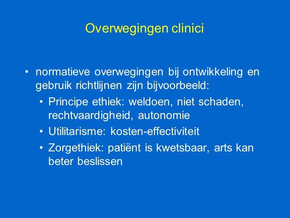Overwegingen clinici normatieve overwegingen bij ontwikkeling en gebruik richtlijnen zijn bijvoorbeeld: Principe ethiek: weldoen, niet schaden, rechtv