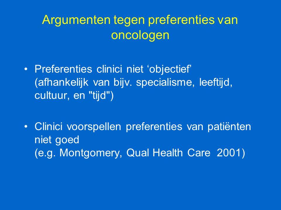 Argumenten tegen preferenties van oncologen Preferenties clinici niet 'objectief' (afhankelijk van bijv. specialisme, leeftijd, cultuur, en