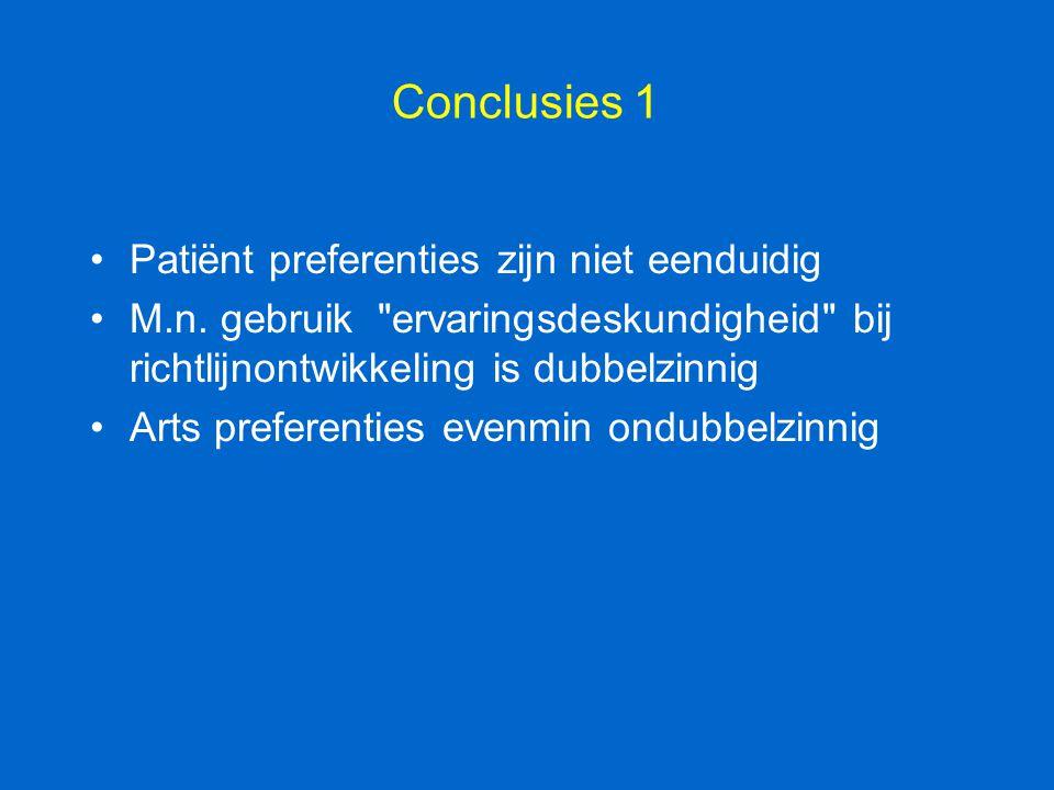 Conclusies 1 Patiënt preferenties zijn niet eenduidig M.n. gebruik