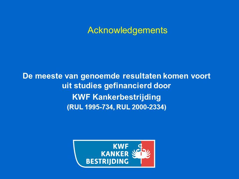 Acknowledgements De meeste van genoemde resultaten komen voort uit studies gefinancierd door KWF Kankerbestrijding (RUL 1995-734, RUL 2000-2334)