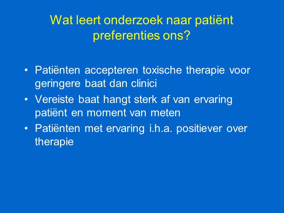 Wat leert onderzoek naar patiënt preferenties ons? Patiënten accepteren toxische therapie voor geringere baat dan clinici Vereiste baat hangt sterk af