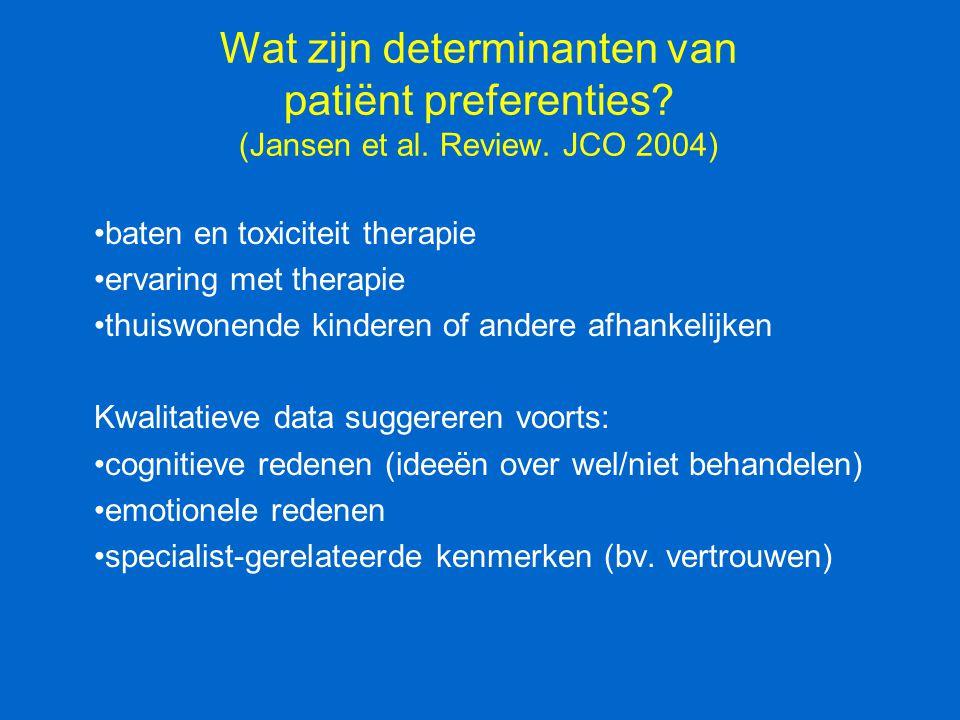 Wat zijn determinanten van patiënt preferenties? (Jansen et al. Review. JCO 2004) baten en toxiciteit therapie ervaring met therapie thuiswonende kind
