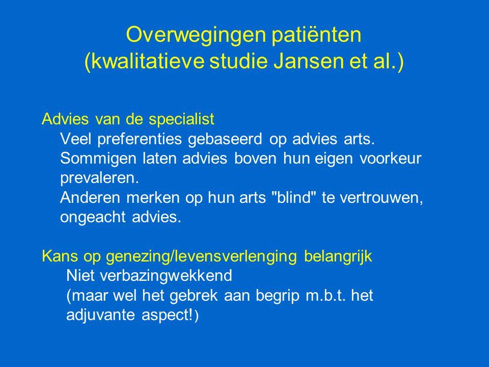 Overwegingen patiënten (kwalitatieve studie Jansen et al.) Advies van de specialist Veel preferenties gebaseerd op advies arts. Sommigen laten advies