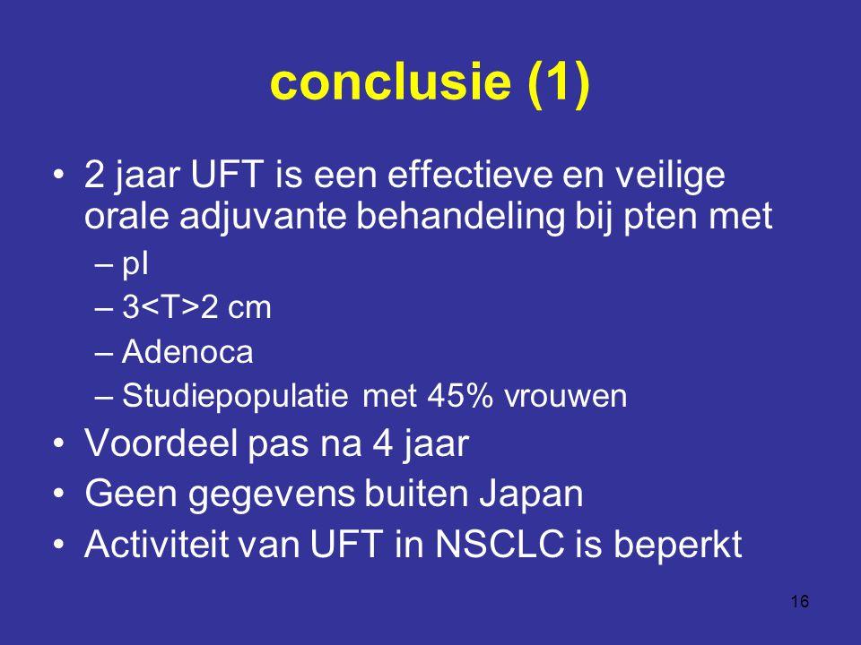 16 conclusie (1) 2 jaar UFT is een effectieve en veilige orale adjuvante behandeling bij pten met –pI –3 2 cm –Adenoca –Studiepopulatie met 45% vrouwen Voordeel pas na 4 jaar Geen gegevens buiten Japan Activiteit van UFT in NSCLC is beperkt