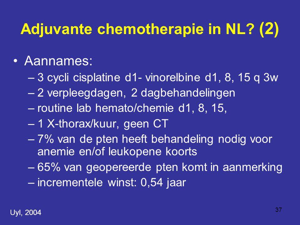 37 Aannames: –3 cycli cisplatine d1- vinorelbine d1, 8, 15 q 3w –2 verpleegdagen, 2 dagbehandelingen –routine lab hemato/chemie d1, 8, 15, –1 X-thorax/kuur, geen CT –7% van de pten heeft behandeling nodig voor anemie en/of leukopene koorts –65% van geopereerde pten komt in aanmerking –incrementele winst: 0,54 jaar Adjuvante chemotherapie in NL.