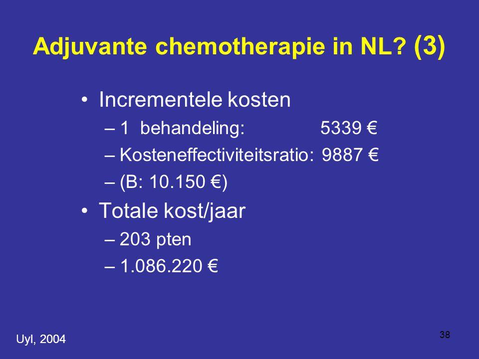 38 Incrementele kosten –1 behandeling: 5339 € –Kosteneffectiviteitsratio: 9887 € –(B: 10.150 €) Totale kost/jaar –203 pten –1.086.220 € Adjuvante chemotherapie in NL.