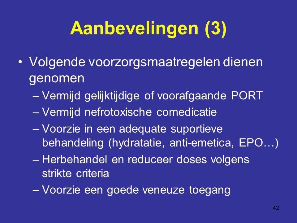 42 Aanbevelingen (3) Volgende voorzorgsmaatregelen dienen genomen –Vermijd gelijktijdige of voorafgaande PORT –Vermijd nefrotoxische comedicatie –Voorzie in een adequate suportieve behandeling (hydratatie, anti-emetica, EPO…) –Herbehandel en reduceer doses volgens strikte criteria –Voorzie een goede veneuze toegang