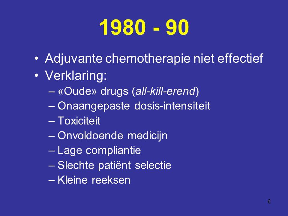 6 1980 - 90 Adjuvante chemotherapie niet effectief Verklaring: –«Oude» drugs (all-kill-erend) –Onaangepaste dosis-intensiteit –Toxiciteit –Onvoldoende medicijn –Lage compliantie –Slechte patiënt selectie –Kleine reeksen