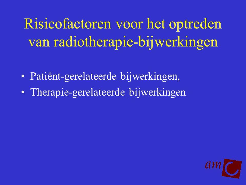 Risicofactoren voor het optreden van radiotherapie-bijwerkingen Patiënt-gerelateerde bijwerkingen, Therapie-gerelateerde bijwerkingen