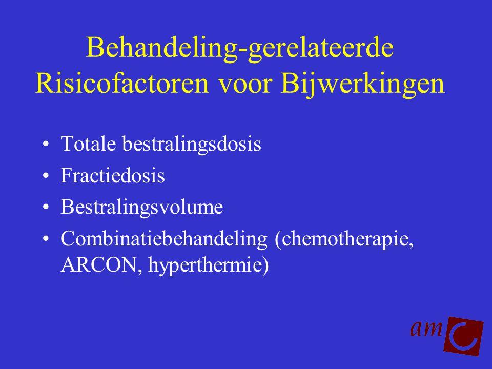 Behandeling-gerelateerde Risicofactoren voor Bijwerkingen Totale bestralingsdosis Fractiedosis Bestralingsvolume Combinatiebehandeling (chemotherapie,