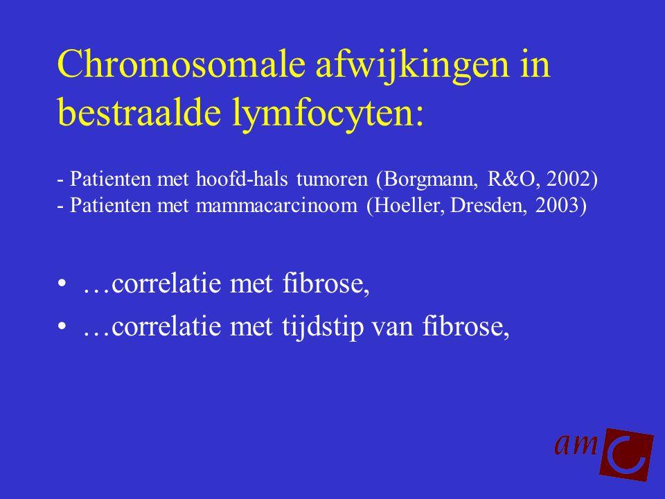 Chromosomale afwijkingen in bestraalde lymfocyten: …correlatie met fibrose, …correlatie met tijdstip van fibrose, - Patienten met hoofd-hals tumoren (